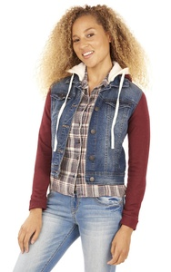 WallFlower French Terry Denim Hooded Jacket in Blair Size:JXL