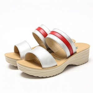 Fashion Sandals/In summer with heavy-bottomed non-slip shoes muffin/ Wild leather soft bottom slippers-A Foot length=22.8CM(9Inch)