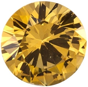 Faceted Precision Cut Yellow Sapphire Stone, Round Shape, Grade AAA, 3.25 mm in Size, 0.17 Carats