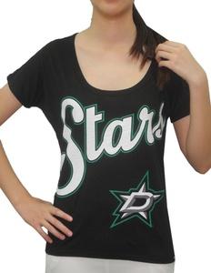 NHL DALLAS STARS Team Logo Athletic Short Sleeve T-Shirt For Women M Black