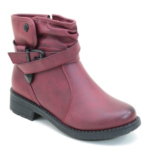New Brieten Women's Buckle Flat Ankle Casual Boots (6.5, Black)
