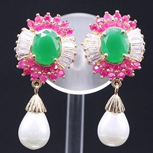 Crystal Necklace Pendant Drop Earrings Set Pearl Jewelry Set Wedding Jewelry For Women