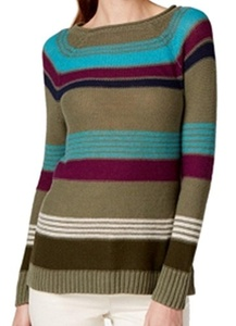 American Living Striped Women's Boat Neck Sweater Green XL