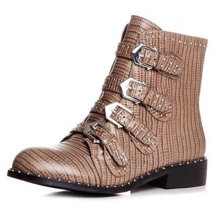 Nine Seven Genuine Leather Women's Round Toe Chunky Heel Buckles Rivets Studded Handmade Ankle Boot (7, black-Lizard leather)