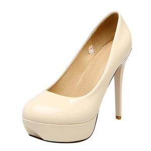 Carolbar Women's Red Sole Stilettos High Heels Wedding Bridal Dress Shoes (4.5, Beige)