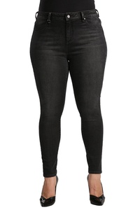 Standards & Practices Womens Plus Size Black Stretch Denim Whisker Skinny Jeans Size 12 x 32Length