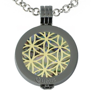 Quiges - Women Stainless Steel Necklace with 25mm Coin Locket and Coin Tree of Life/Flower of Life #881