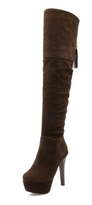 YE Women's High Heel Stiletto Platform Suede Over The Knee High Boots with Faux Fur