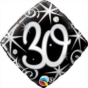Qualatex Black & Silver Elegant Sparkles & Swirls 30th Birthday 18 Foil Balloon by Black/Silver/White Balloons & Decorations