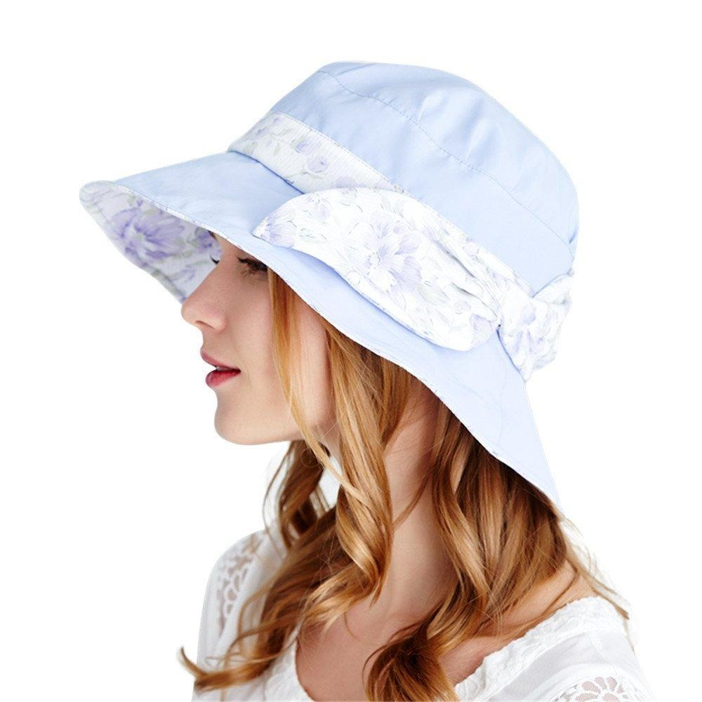 8351db24d021d Kenmont Women's Wide Brim Travel Beach Cap Summer Uv Protection Sun Hat  With Wind Lanyard, Printing Bowknot (Snow Blue Color)