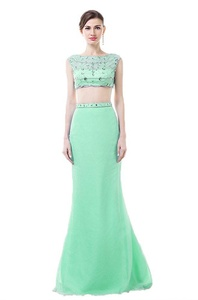 Anna's Bridal Women's Two Piecees Prom Dresses Mermaid Long Evening Gowns Mint US22W