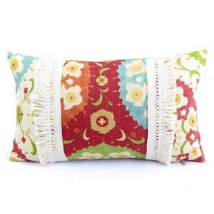 Chloe & Olive Marrakesh Limited Edition Floral with Tassel Trim Fringe Designer Decorative Throw Toss Pillow with Feather Insert - Handmade Colorful Cushion - Red Cream - 12x20