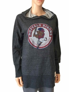 Buffalo Bisons Retro Brand WOMENS Charcoal Gray Pullover Hoodie Sweatshirt (S)