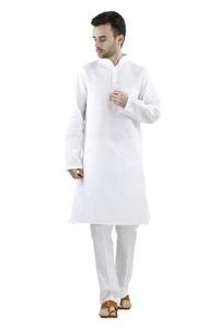 Royal Men's Linen White Kurta Churidar Set For Men