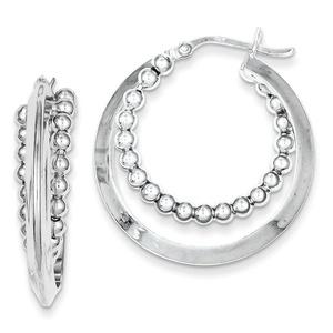 .925 Sterling Silver 30 MM Intertwining Beaded Hoop Earrings