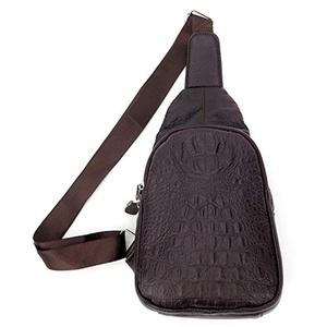 Men's Women's Outdoor Sports Casual Crocodile pattern Crossbody Sling Bag Chest Bag Shoulder Bag Hiking Bicycle Bag Backpack (Coffee)