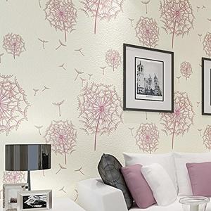 CCWY Stereoscopic 3D non-woven cloth wallpaper warm idyllic dandelion wallpaper bedroom living room TV wall