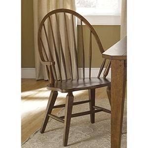 Hearthstone Traditional Rustic Oak Windsor Arm Chair