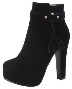 Summerwhisper Women's Elegant Faux Suede Fringes Belt Round Toe Chunky High Heel Platform Side Zipper Ankle Boots Black 4 B(M) US