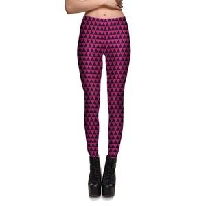 Women Black and Pink Triangle Leggings (XXXXL Size/ 4XL)