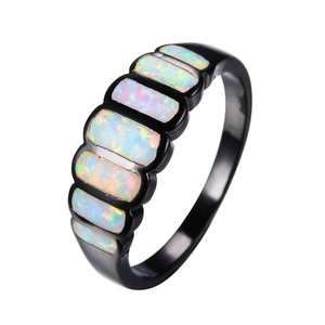 CHIC Geometric Design White Fire Opal Ring Black Gold Ring Vintage Wedding Rings Fashion Jewelry 8.0