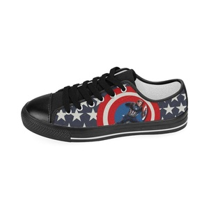 Aneozap Custom Captain America Men's Low-top Lace-Up Canvas Shoes Sneakers Casual Flats,Black