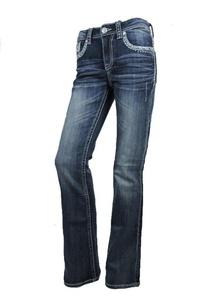 Grace L.A. Idol Women Bootcut Jeans Light Blue Aztec Back Pocket Stretch Dark Blue