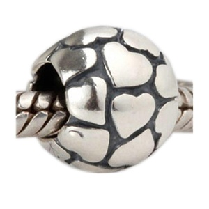 Leobeads Authentic 925 Sterling Silver Lots of Love Heart Charms Beads Fits Pandora Style Jewelry Bracelet Making