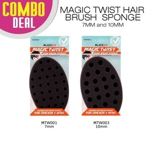 2 PC Set-Combo Deal Black Ice Magic Twist Hair Brush Sponge (7MM & 10 MM) by Black Ice