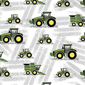 John Deere Little Farm Tractor White Fabric From Springs Creative By the Yard