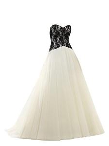 Rachel Weisz Women's Sweetheart Black Appliques Lace Up Wedding Dresses Bride Evening Ball Gown Ivory US6