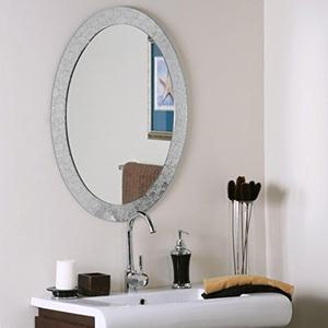 Oval Frameless Designer Wall Mirror, Silver Mirror