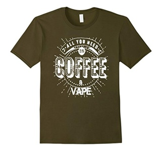 Men's All you need is Coffee & vape Tshirt funny Small Olive