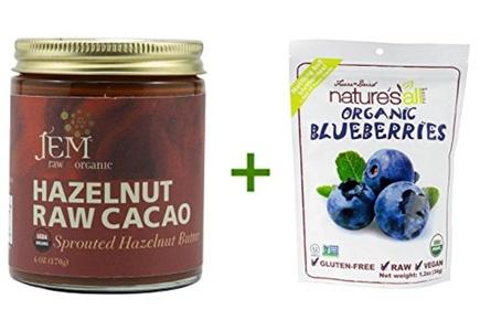 Jem Raw Sprouted Hazelnut Spread Hazelnut Raw Cacao -- 6 oz, (2 PACK), Nature's All Foods Organic Freeze-Dried Raw Blueberries -- 1.2 oz