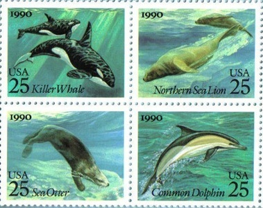 MARINE SEA MAMMALS ~ DOLPHIN ~ WHALE ~ SEA LION ~ SEA OTTER #2511a Block of 4 x 25 US Postage Stamps by US Postal Service