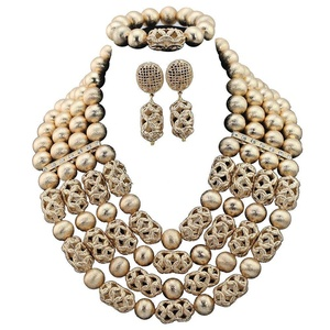 Africanbeads 4 Rows Alloy Statement Necklace Nigerian Wedding African Beads Jewelry Set Women Party Gift