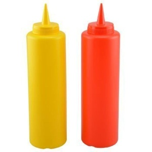 2-Pack 12oz KETCHUP & MUSTARD PLASTIC SQUEEZE CONDIMENT BOTTLE by THE COOK'S CONNECTION