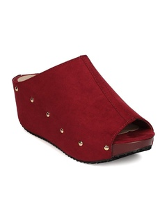 Refresh FG25 Women Faux Suede Peep Toe Studded Platform Wedge Mule - Wine (Size: 7.5)