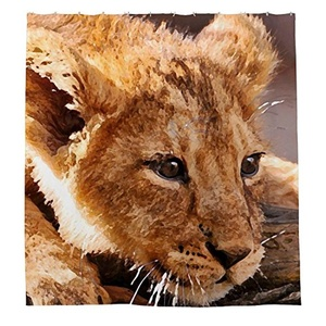 Zixinriues Lions Shower Curtain Polyester Fabric Bathroom Shower Curtain Set with Hooks 72 By 72-inch,180cmx180cm