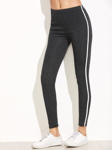 Dark Grey One-Size Striped Side Leggings