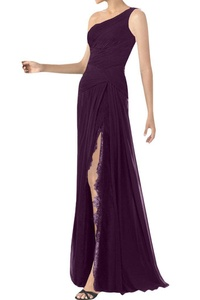 Winnie Bride Elegant One Shoulder Evening Prom Dress for Wedding in Lace Chiffon-20W-Grape
