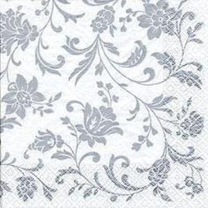 Arabesque/Damask White with Silver Print Party Lunch Napkins x 20 by Napkins - Patterned