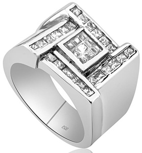 Men's Sterling Silver .925 Designer Ring with Invisible and Channel Set Princess Cut Cubic Zirconia (CZ) Stones, Platinum Plated.