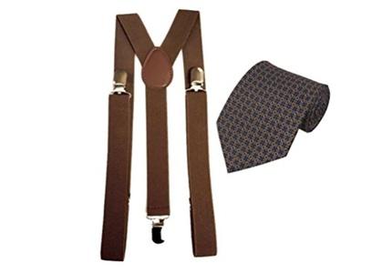 Plaid neckties and brown suspenders Combo Mens (Plaid neckties, hanky and brown suspenders 5) (Burgundy Necktie 8)