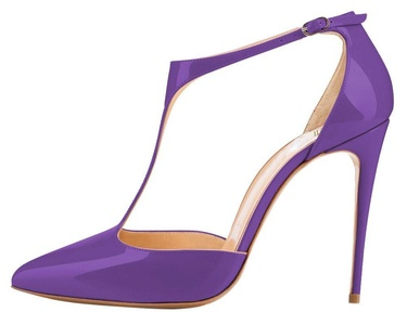 Maovii Women's Big Size Pointed Toe Ankle T strap High Heel Stiletto for Wedding Party Dress 15 M US Purple
