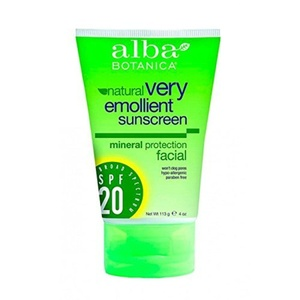 Alba Botanica Very Emollient Natural Sunscreen Mineral Protection Facial Spf 20 -- 4 Oz by Alba