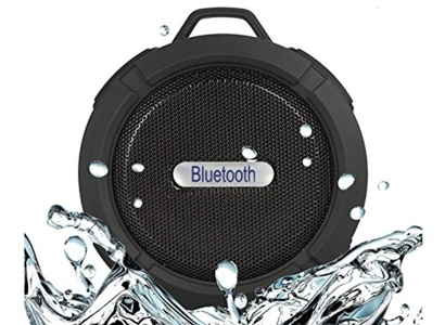 Portable Wireless Stereo Speaker for Shower/Outdoor, Compatible for iPhone/ IPad and Android Series with Built-in Microphone/Suction Cup/Snap Hook