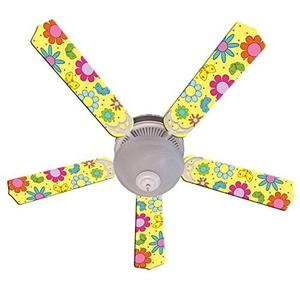 Ceiling Fan Designers Ceiling Fan, Flower Power Butterflies Yellow, 52 by Ceiling Fan Designers