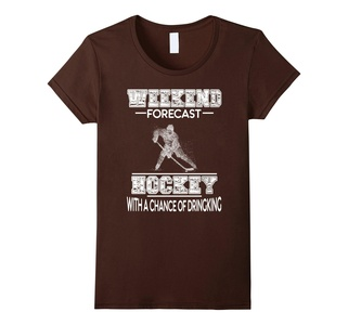 Women's Weekend Forecast Hockey With A Chance Of Drinking Shirt Medium Brown