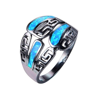 CHIC Fashion Blue Fire Opal Ring Black Gold Filled Jewelry Vintage Wedding Engaget Rings 6.0